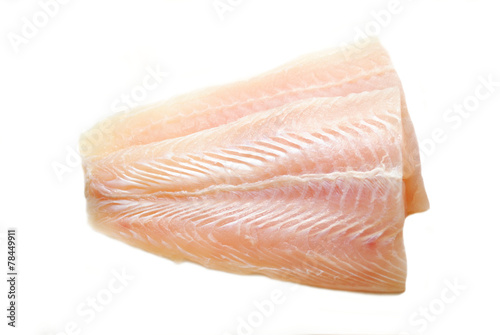 Raw Mild White Fish Isolated on White - 78449911