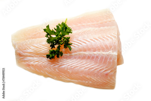 Foto op Plexiglas Vis Fresh Pollack Fillets with Fresh Parsley