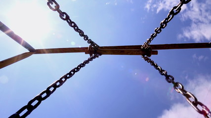 The vintage chains swing and blue sky