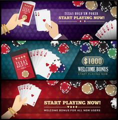 Hold'em poker banner set