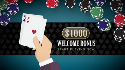 Poker banner with aces