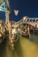 Canals and streets of Venice by night