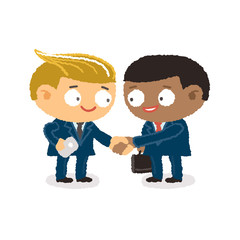 Businessman giving shaking hands to join business
