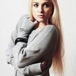 Beautiful blond young woman in dress.flirt lovely girl