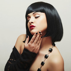 Sexy Beautiful Brunette Girl. Healthy Black Hair.Bob Haircut