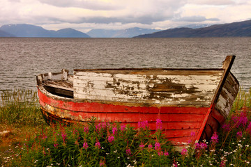 Norway, Old boat at fjord