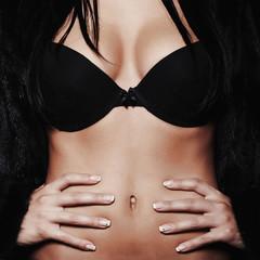 beautiful sexy woman breast. mink fur and black underwear