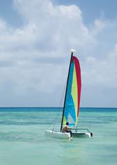 Mexico, Catamaran in ocean