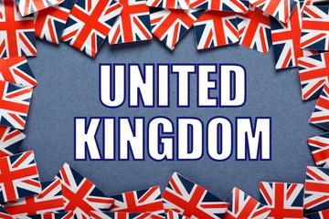 The title United Kingdom with a border of Union Jacks