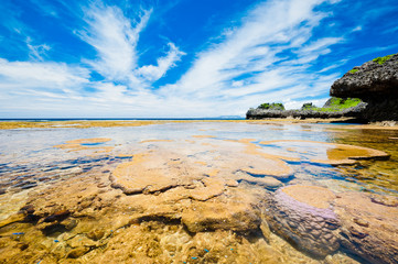 Japan, Okinawa, View of tide pool in summer