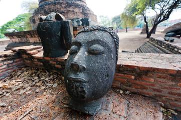 Thailand, Ayutthaya, Close up of head of Buddha statue