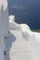 Greece, Santorini, View of white steps and wall