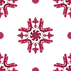 Flourish 001 - Cerise #DE3163 & White