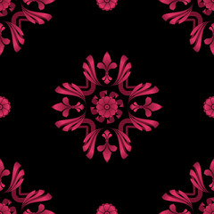 Flourish 001 - Cerise #DE3163 & Black