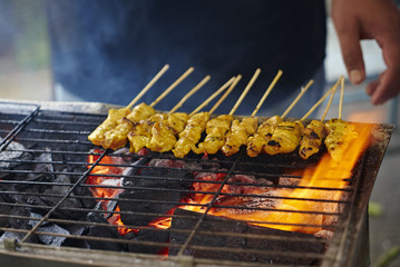 Malaysia, Satay sticks on barbecue