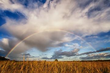 Italy, Lazio, Latina, Lago Dei Monaci, Scenic view of rainbow over field