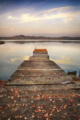 Italy, Tuscany, Siena, Small wharf on Chiusi Lake