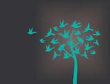 Tree made of swallow birds - 78453155