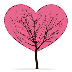 Heart shaped tree with barren branches