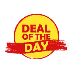 deal of the day, yellow and orange round drawn label