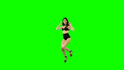 Go-go dancer girl isolated on green screen