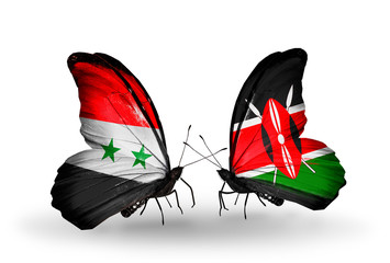 Two butterflies with flags Syria and Kenya