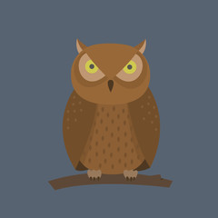 Owl Sitting On A Branch, Illustration In Flat Style