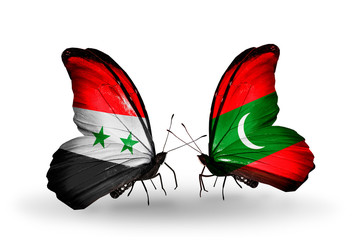 Two butterflies with flags Syria and Maldives