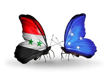 Two butterflies with flags Syria and Micronesia