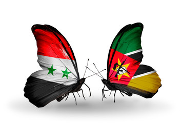 Two butterflies with flags Syria and Mozambique