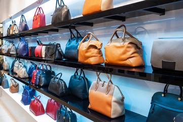 Shelves with handbags