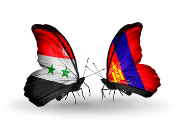 Two butterflies with flags Syria and Mongolia