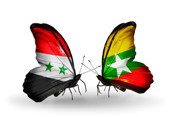 Two butterflies with flags Syria and Myanmar