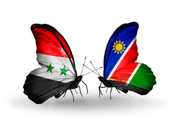 Two butterflies with flags Syria and Namibia