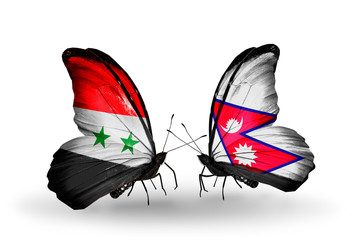Two butterflies with flags Syria and Nepal