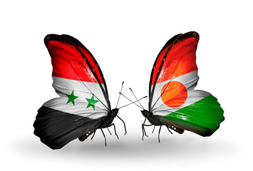 Two butterflies with flags Syria and Niger
