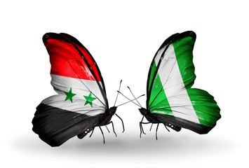 Two butterflies with flags Syria and Nigeria