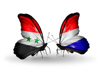 Two butterflies with flags Syria and Holland