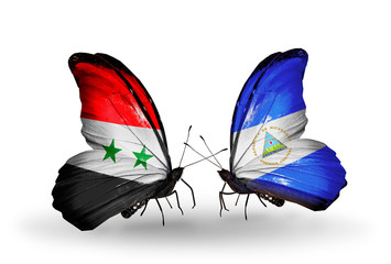 Two butterflies with flags Syria and Nicaragua