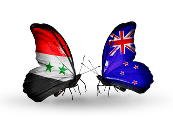 Two butterflies with flags Syria and New Zealand