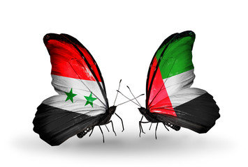 Two butterflies with flags Syria and United Arab Emirates