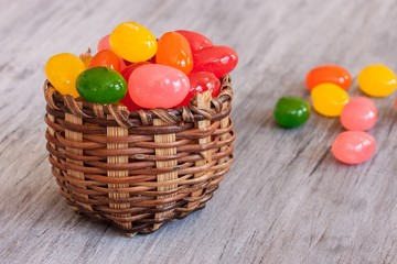 Easter candies in a basket