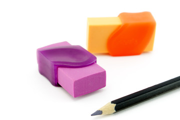 Erasers and pencil
