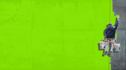 Industrial paint bright green background