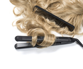 blond hair with curling iron