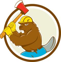 Beaver Lumberjack Wielding Ax Circle Cartoon