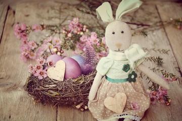 Osterkarte - Osterhase und Osternest - nostalgisch