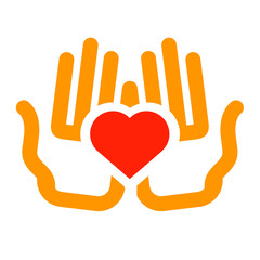 love vector logo design template. charity or kindness icon.