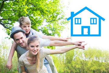 Familie plant ihr Haus im Traum