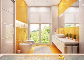 Yellow bathroom in a big house